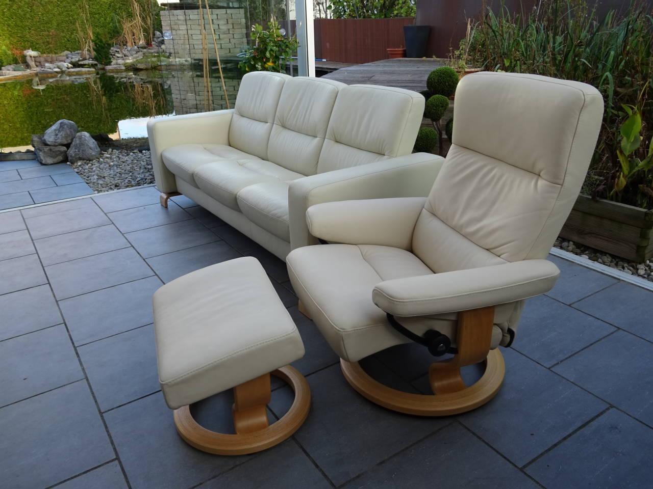 stressless 3 sitzer wave und sessel atlantic m modell. Black Bedroom Furniture Sets. Home Design Ideas